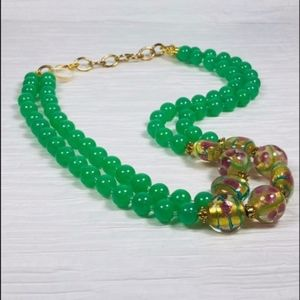CTB Glass Double Bead Necklace Green Yellow Pink